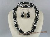 gnset007 Luxuriant black crystal with pearl Jewelry set