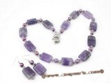 gnset028 Fashion amethyst and cultured pearl necklace jewelry set in wholesale
