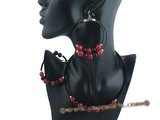 gnset041 Black rubber cord Black agate& red jade Xmas necklace jewelry set