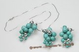 Gnset048 Hand Wrapped Round Turquoise& Sterling Ball Grape Jewelry set
