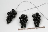 Gnset050 Hand Wrapped Grape-like Black Agate Pendant & Earrings Set