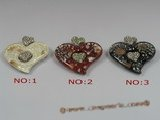 gpd049 60*65mm heart-shape lampwork pendant with 18KGP mountting wholesale