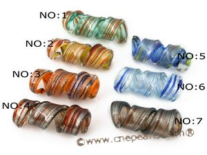 gpd063 Discount 15*45mm color glaze pendant necklace in  helix-pipe design,30pieces