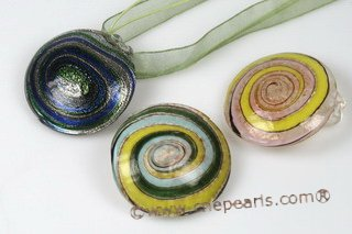 Gpd106 65mm Large Round Foil Lampwork Glass Pendant in Wholesale