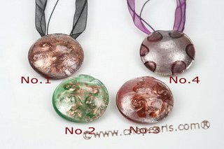 Gpd107 Wholesale 65mm Large Round Foil Lampwork Glass Pendant