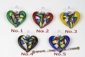 Gpd110 Wholesale Colored Heart Shape Millefiori Lampwork Glass Pendant Necklace