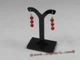gse007 Sterling silver 6mm red jade beads dangle Earring