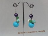 gse021 wholesale Big turquoise dangle earrings dangling from 925silver hook
