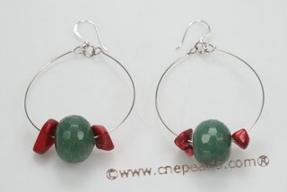 gse067 18mm green jade hoop earring  decorated with red coral