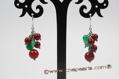 gse068 coral& jade dangle earrings with sterling silver hook