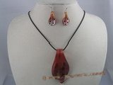 gset001  60mm clipper-built  lampwork necklace set
