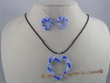 gset004 Stunning  60mm heart-shape lampwork necklace Set