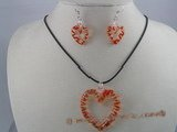 gset006 Charming  heart-shape color lampwork necklace Set