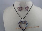 gset007 Charming  heart-shape color glaze necklace&earrings Set