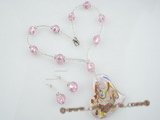 gset019  whholesale pink heart-shape glaze necklace&earrings set