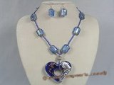 gset020  whholesale bule square color glaze necklace&earrings set