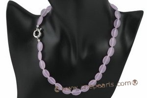 gsn013 10*13mm oval Purple Jade gemstone beads necklace