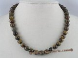 gsn015 10mm round tiger eyes gemstone beads necklace
