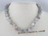 gsn017 8mm grey rhombic sunglow gemstone beads necklace