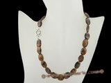 gsn019 10*14mm oval tiger eye gemstone beads necklace