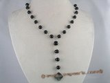 gsn021 8mm black agate beads Y Style gem stone necklace