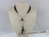 gsn037 gradual change black agate beads Y style necklace with rolo chain