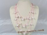 gsn046 baroque nugget rose quartz beads layer necklace with pink cord