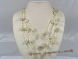gsn047 baroque nugget  agate beads layer necklace with yellow cord