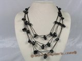gsn049 baroque nugget  black agate layer necklace with black cord