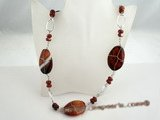 gsn050 oval shape red agate necklace beads long necklace