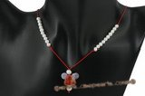 Gsn095 Red cord agate and potato pearl adjustbale Xmas necklace