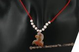 Gsn096 Red cord potato pearl & agate princess necklace