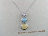 gsp018 Three pieces semiprecious gem stone sterling silver pendant