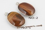 gsp090 Silver plated copper tiger eye oval pendant,28*38mm
