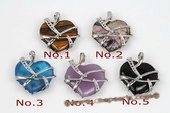 gsp124 Fashion 25mm Heart shape Gemstone Pendant Necklace