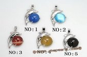 gsp134 Designer 25*30mm Gemstone Dolphin Pendant Necklace