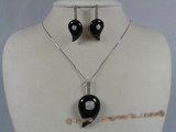 gnset009 Comma design black agate sterling sivler pendant earrings set