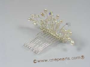 hj001 chandelier pearl bridal comb jewelry