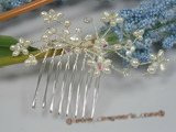 hj008 chandelier crystal and pearl Bridal Comb wholesale