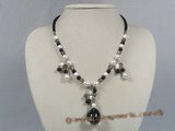 HN006 pearl and smoky quartz beads holiday&#39s neckalce