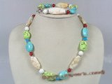 Hnset001 Festive multi-color turquoise and coral necklace&bracelet set
