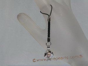 hsg003 pink pearl handset charms gift with sterling Double dolphin cage
