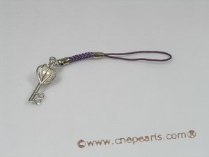 hsg005 strap lanyards handset charms with steling key design cage and pearl