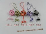 hsg011 double layer flower design zircon cell phone charms