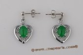 Je001 Five pairs silver plated heart design green jade drop earrings--summer collection