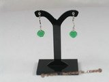 Je002 one pairs silver plated faceted green Jade Drop earrings --summer collection