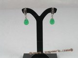 Je003 One pairs silver plated tear-drop green Jade Drop earrings --summer collection
