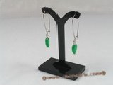 Je008 Five pairs Green Jade arched wire dangle earrings--summer collection