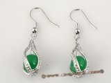Je012 wholesale silver plated rhinestone holder with jade dangle earring in five pairs