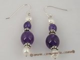 je015 Glossy Amethyst Rounds,Sterling Silver and pearl dangle earrings